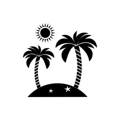 Island icon, travel, tourism, sun and palm. Vector illustration