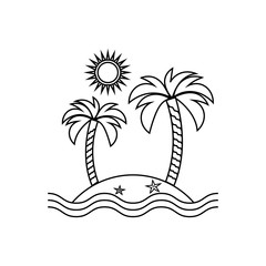 Island linear icon, travel, tourism, sun and palm. Vector illust