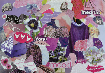 Creative Atmosphere art mood board collage sheet in color idea pink,red, purple made of teared magazines and printed matter paper