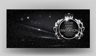 VIP Invitation card with sparkling black fabric. Vector illustration