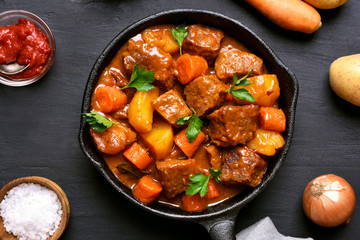 Beef meat stewed with potatoes and carrots