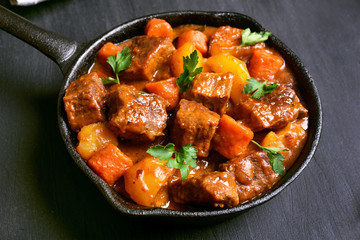 Beef stew in frying pan