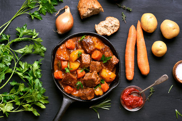 Stewed beef with potatoes and carrots