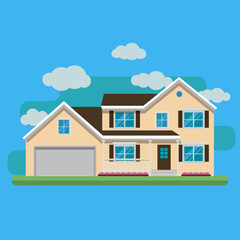 The flat picture with the image of the house with the garage and trees. Suburban american house. Country cottage. Family home. Flat design vector illustration.