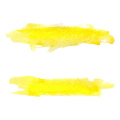Set yellow watercolor blobs, isolated on white background.