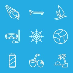 Set of 9 Summer outline icons
