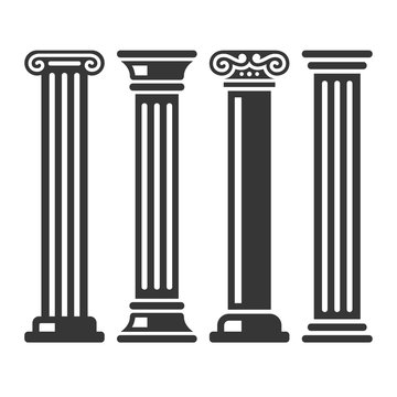 Ancient Columns Icon Set. Vector