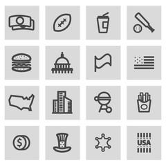 Vector line usa icons set