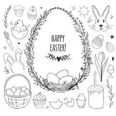 Easter vector doodles set with eggs, chicken, rabbits and flowers isolated on white.