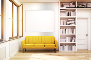 Home library with a sofa