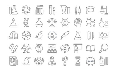 Set Vector Flat Line Icons Chemistry
