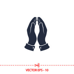 Praying hands icon, vector illustration. Flat design style