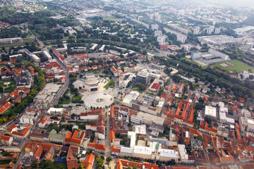 Aerial view of Nitra, Slovakia. Nitra theatre with square and city on the background