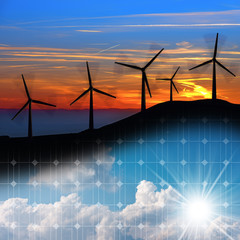 Wind and Solar Energy Concept - Wind turbines and a solar panel