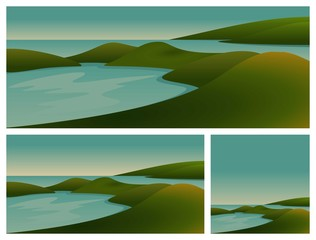 Landscape of Lake, Hills in Beach Vector Illustration