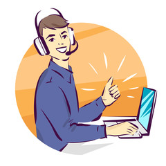 Call center support vector illustration, man in handsfree headphones working on laptop and showing thumb up