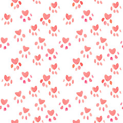 Seamless heart paws traces pattern, watercolor with clipping mask