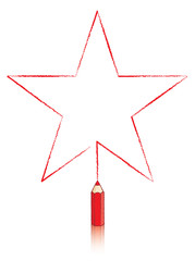 Red Colouring Pencil Drawing Five Pointed Star