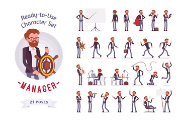 Ready-to-use male manager character set, different poses and emotions