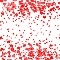 Romantic pink heart background. Vector illustration for holiday design. Many flying hearts on white pattern. For wedding card, valentine's day greetings, lovely frame