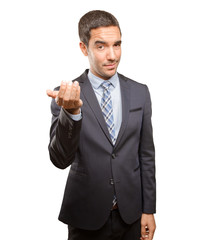 Confident young businessman welcoming