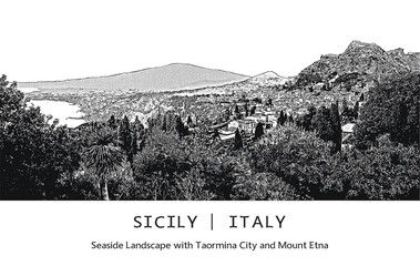 Seaside landscape with Taormina city and Mount Etna in Sicily, Italy. Vector image. Black and white illustration in engraving style.