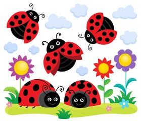 Stylized ladybugs theme image 1