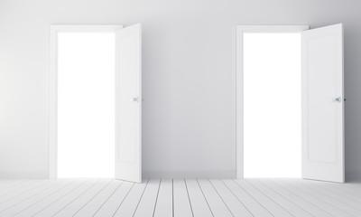 Two doors in a empty room