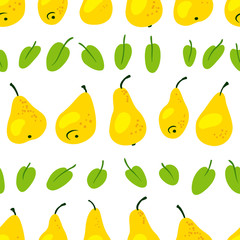 Seamless pattern with fresh yellow pears. Harvesting vector  background with leaves