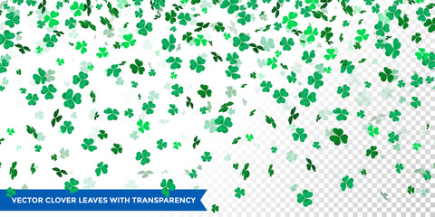 Irish clover leaves pattern for Saint Patrick Day shamrock on transparent vector background