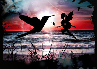 Fairy and colibri in the sunset photo manipulation