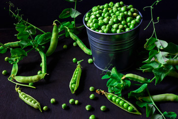 Green pea pods in a tin on black background