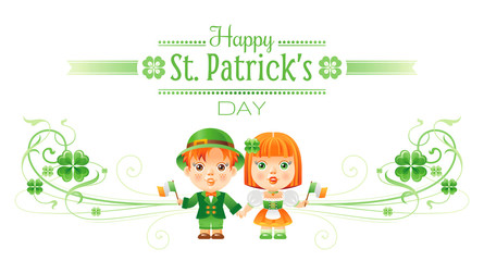 Happy Saint Patrick day border banner, isolated white background. Irish shamrock clover leaf frame, text letter logo, baby girl, boy icon. Traditional Northern Ireland celtic poster