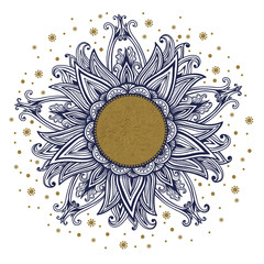 Floral medallion pattern.  Hand drawn vintage frame. Mandala ornament. Can be used for textile, greeting card, coloring book, phone case print. Vector  illustration.