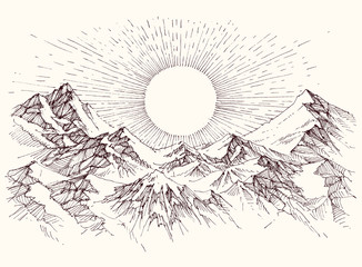 Sun rise over the mountains panorama