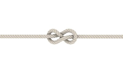 Rope flemish knot, Eight Knot.Isolated on white background.