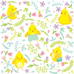 Easter seamless pattern with cute chicken cartoon characters and floral elements. Vector illustration.