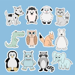 Vector stickers with baby animals . Cartoon illustrations