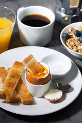 boiled egg, toasts and coffee for breakfast, vertical