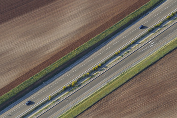 Aerial image of dual carriageway motorway in Salamanca Region, Castilla y Leon, Spain, May 2011
