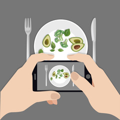 Hands holding phone taking photo of health food. Instagram blogger. Subject photography. Freelancer. Top view. Flat vector illustration.
