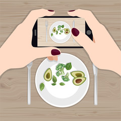Hands holding phone taking photo of lunch on wood table. Instagram blogger. Subject photography. Freelancer. Top view. Flat vector illustration.