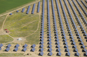 Aerial image of solar energy power station Salamanca Region, Castilla y Leon, Spain, May 2011