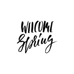 Hand lettered style spring design on a white background. Welcome Spring hand drawn calligraphy letters. Vector illustration.