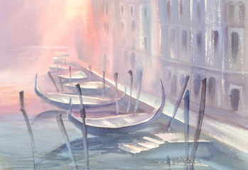 gondolas in Venice morning watercolor
