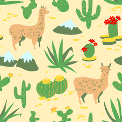 Seamless pattern with alpaca and cactus. Background with llama
