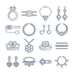 Set of vector jewelry line icons. Diamond luxury collection isolated on white. Ring necklace earrings chain diadem silhouettes. Pearl gold silver gem crystal sapphire element. Treasure collection.