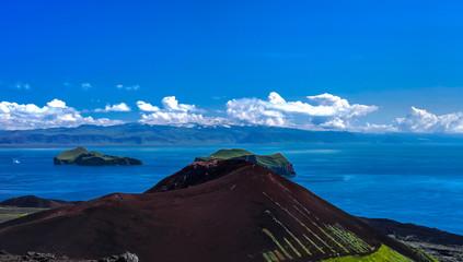 Panorama with Eldfell volcano in Heimaey island, Vestmannaeyjar archipelago, Iceland