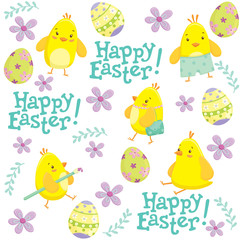Easter seamless pattern with cute chicken cartoon characters, Easter eggs and floral elements. Vector illustration.