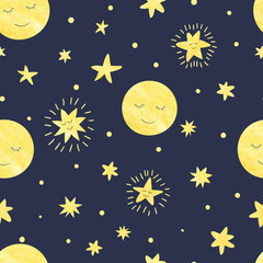 Seamless moon and stars pattern. Vector night illustration for kids design.